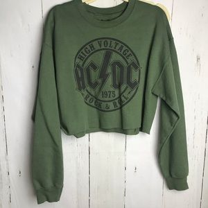 Tops - AC/DC olive green cropped crewneck